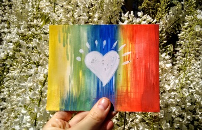 love rainbow heart postcard
